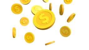 Investment, modern coins dollar stock footage