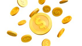 Investment, modern coins dollar. For use in presentations, education manuals, design, etc. 3D illustration Stock Photo