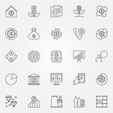 Investment and money icons. Vector collection of banking and finance signs or logo elements in thin line style Royalty Free Stock Images