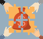 Investment money illustration. Four hands businessman folded mon Royalty Free Stock Photography
