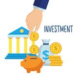 Investment money saving. Concept. Hand putting coins in piggy bank. Financial profit and finance symbols and icons. Vector illustration in flat style design Stock Photos