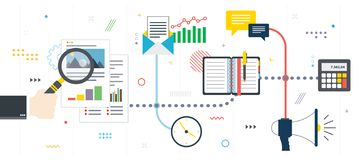 Investment in new business, chart analysis and report stock photos