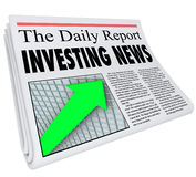 Investment News Headline Paper Daily Money Report Information. Investment News headline on a newspaper titled The Daily Report with an arrow on a grid going up Stock Photography