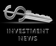 Investment News Means Investing Headlines 3d Illustration. Investment News Key Means Investing Headlines 3d Illustration Stock Images