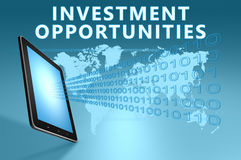 Investment Opportunities. Illustration with tablet computer on blue background stock illustration