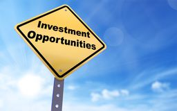 Investment opportunities sign. On blue sky background,3d rendered royalty free illustration