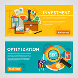 Investment and Optimization Concept Banners Stock Photos