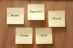 Investment options. Common investment options list on sticky notes Stock Images