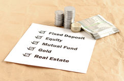Investment Options Concept. Investment options, including equity, mutual fund, fixed deposit, gold and real estate, concept Stock Photo