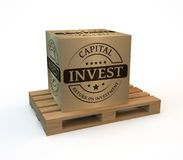 Investment package. Wooden pallet with a package invest Royalty Free Stock Photos