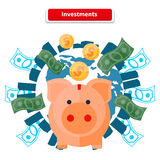 Investment Piggy Bank Royalty Free Stock Photos