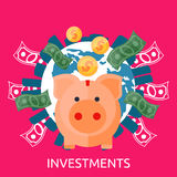 Investment Piggy Bank Stock Images
