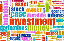 Investment Plan. Terminology Background as a Art Royalty Free Stock Photos