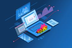 Investment planning isometric page web site  icon. Laptop monitor showing investment planning page. Isometric icon for web site banner. Vector design Stock Images