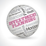 Investment planning theme sphere with keywords. Investment planning  theme sphere with keywords Royalty Free Stock Photo