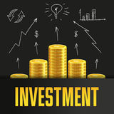 Investment poster or banner design template with golden coins. Royalty Free Stock Photography