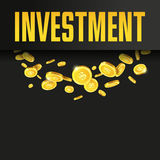 Investment poster or banner design template with golden coins. Stock Photo