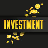 Investment poster or banner design template with golden coins. Royalty Free Stock Photos