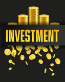 Investment poster or banner design template with golden coins. Investment poster or banner design template with golden coins and copy space for text. Vector Stock Images