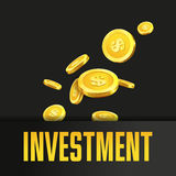 Investment poster or banner design template with golden coins. Royalty Free Stock Photo
