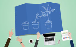 Investment process plan concept illustration with team mange on blueprint with plant grow. Vector Royalty Free Stock Photography