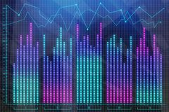 Investment and profit concept. Abstract colorful forex chart on blurry city background. Double exposure Stock Photo