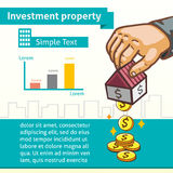 Investment Property Graphic Template with Hand Earning Money. For design Royalty Free Stock Images