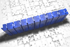 Investment. Puzzle 3d render illustration with block letters on blue jigsaw pieces Stock Photos