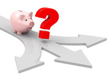 Investment questions. 3d generated picture of a helpless piggybank Stock Image