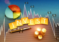 Investment report. Financial graph of investment and business development Stock Photos