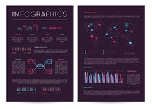 Investment report with various infographics. Data visualization, commercial business analytics, financial graph, stock index cartogram vector illustration Royalty Free Stock Photos