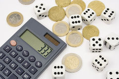 Investment risk. Calculator, euro coins and dices on white background Stock Photo