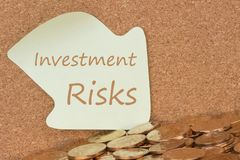 Investment Risks written on note. Investment Risks written reminder note and many of gold coins. Defocused chart background stock photography