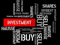 INVESTMENT - SAVE UP - image with words associated with the topic STOCK EXCHANGE, word cloud, cube, letter, image, illustration Stock Photos