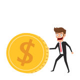Investment and saving concept. Businessman rolls gold coin. Increasing capital and profits. Wealth and savings growing. Stock Photo