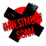 Investment Scam rubber stamp. Grunge design with dust scratches. Effects can be easily removed for a clean, crisp look. Color is easily changed Stock Photos