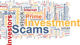 Investment scams word cloud vector illustration