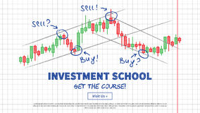 Investment school vector illustration. Japanese candlestick chart with lines of support and resistance creative concept. Buy and sell indicators on the candle Stock Photo