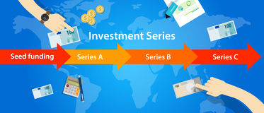 Investment series round seed funding A B C start-up. Illustration Stock Image