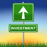Investment Sign Represents Invested Placard And Savings Royalty Free Stock Photography