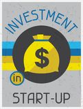 Investment in start-up. Retro poster flat design Royalty Free Stock Photo