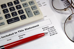 Investment Statement Closeup Royalty Free Stock Images