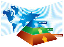 Investment strategy with chart. Investment strategy - abstract illustration with color chart and pyramid Stock Images