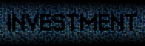 Investment text on hex code illustration. Investment text on abstract shades of blue hex code background illustration Royalty Free Stock Photography