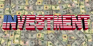 Investment text with American flag on currency illustration Stock Photos