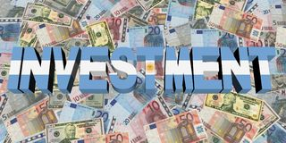 Investment text with Argentinian flag on currency illustration. Investment text with Argentinian flag on currency 3d illustration Stock Photo
