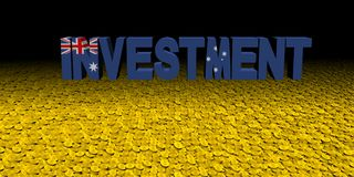 Investment text with Australian flag on coins illustration. Investment text with Australian flag on numerous coins 3d illustration Royalty Free Stock Photo