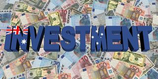 Investment text with Australian flag on currency illustration. Investment text with Australian flag on Currency dollars and euros illustration Royalty Free Stock Photo
