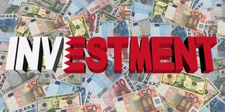 Investment text with Bahrain flag on currency illustration. Investment text with Bahrain flag on Currency dollars and euros illustration Stock Image