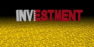 Investment text with Bahrain flag on coins illustration. Investment text with Bahrain flag on numerous coins illustration Stock Images